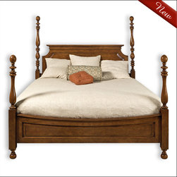 """Liz Ann's Interior Design Boutique - The gracefully designed Allison Full/Queen size four poster bed with turned posts and legs and raised panel details will add charm into any bedroom.  Choose from a large selection of gorgeous finishes.  Shown in Tavern Fruitwood.  Overall Dimensions for Full: 59Wx84L.  Overall Dimensions for Queen: 67Wx92L.  Headboard Height: 62"""".  Footboard Height: 40"""".  Frame Height: 11"""".  *More than one finish color is available at an additional charge."""