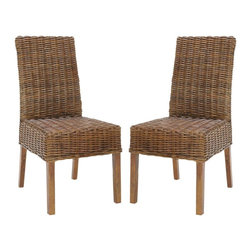 Safavieh - Sanibel Side Chair (Set Of 2) - The transitional rattan Sanibel Side Chair brings a soft touch to contemporary interiors in need of warmth. Crafted with mango wood and beautifully woven rattan finished in light brown, this durable chair is at home in dining rooms, kitchens and casual living spaces. (Sold in a set of two)