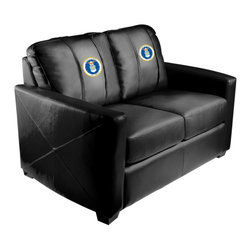 Dreamseat Inc. - US Air Force Coat of Arms Xcalibur Leather Loveseat - Check out this incredible Loveseat. It's the ultimate in modern styled home leather furniture, and it's one of the coolest things we've ever seen. This is unbelievably comfortable - once you're in it, you won't want to get up. Features a zip-in-zip-out logo panel embroidered with 70,000 stitches. Converts from a solid color to custom-logo furniture in seconds - perfect for a shared or multi-purpose room. Root for several teams? Simply swap the panels out when the seasons change. This is a true statement piece that is perfect for your Man Cave, Game Room, basement or garage.