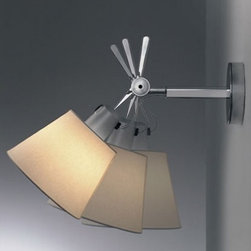 """Artemide - Artemide Tolomeo 12 shade wall sconce - Product Details:   The Tolomeo 12 shade wall sconce from Artemide has been designed by Michele De Lucchi and Giancarlo Fassina. This adjustable wall mounted luminaire is great for direct and diffused incandescent or fluorescent lighting. The Tolomeo is composed of polished aluminum with the diffuser in parchment paper or pale grey satin and polycarbonate fiber blend with aluminum frame. The Tolomeo wall sconce with shade is available in three sizes, this is the large size. This wall sconce adjusts to a full downward and maximum 30 degree upward position. The Tolomeo shade wall sconce exhibits a classic and versatile design, along with quality craftsmanship, that is sure to wonderfully brighten any domain. On/Off switch on lamp holder. UL listed.  Details:     Manufacturer:  Artemide   Designer:  Michele De Lucchi and Giancarlo Fassina     Made in: Italy   Dimensions:   Height: 16"""" (40.6cm) X Width: 12 5/8"""" (32cm)      Light bulb:   1 X 150W incandescent   or 1 X 18W fluorescent     Material:  aluminum, polycarbonate, satin"""