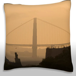 Custom Photo Factory - Distant view of a bridge, golden gate bridge, california, usa  Polyester Velour - Distant view of a bridge, golden gate bridge, california, usa 18 x 18 Inches  Made in Los Angeles, CA, Set includes: One (1) pillow. Pattern: Full color dye sublimation art print. Cover closure: Concealed zipper. Cover materials: 100-percent polyester velour. Fill materials: Non-allergenic 100-percent polyester. Pillow shape: Square. Dimensions: 18.45 inches wide x 18.45 inches long. Care instructions: Machine washable