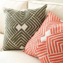 Ballard Designs - Lulu Embroidered Pillow - Hidden zipper. Plush feather down insert included. For a quick way to dial up the color and energy in your room, our geometric Lulu Embroidered Pillow is a beautifully affordable solution. The bold chevrons are chain stitched on neutral, natural 100% linen. Lulu Embroidered Pillow features: . .