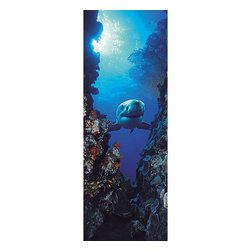 Shark Wall Mural - Convert an ordinary door into a deep sea adventure with this vivid scene of a shark in the abyss.