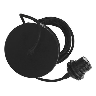 VITA - Vita Canopies Cord Set E26-60W 10 Feet Black Textile Cord - This cord set includes 10 feet of textile cord, a ceiling CANOPY and E26 socket. It is compatible with all Vita lamps.