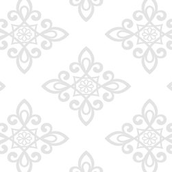 Wallpaper Worldwide - Carly - Lattice Pattern Wallpaper, Offwhite, Grey - Material: PVC