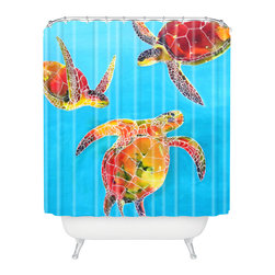 DENY Designs - Clara Nilles Tie Dye Sea Turtles Shower Curtain - Who says bathrooms can't be fun? To get the most bang for your buck, start with an artistic, inventive shower curtain. We've got endless options that will really make your bathroom pop. Heck, your guests may start spending a little extra time in there because of it!