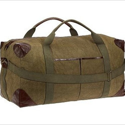 """Union Recycled Canvas Large Weekender Bag, Moss - With its distressed leather detailing and roomy interior, our weekender bag makes a stylish and ecologically friendly travel companion. 34"""" wide x 14"""" deep x 15"""" high Made of recycled canvas. Leather trim and brass hardware. Lined with cotton. Removable strap. Catalog / Internet only. Monogram will be centered on the top front."""