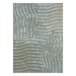 Rug - ~5 ft. x 7 ft. 3-D Shaggy White Living Room Hand-tufted Area Rug - 3D SHAG COLLECTION