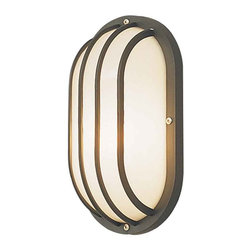 Outdoors - 1 Light Oval Polycarbonate Bulk Head Fixture with Cage