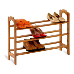 Honey Can Do - 3-Tier Bamboo Shoe Rack - Portable, stackable. 28.5 in. W x 8.75 in. D x 21 in. H