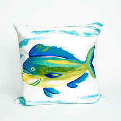Trans Ocean Import - Mahi Mahi Pearl Pillow - Liora Manne's pillows are made using her patented Lamontage process, now with 100% polyester microfiber for an extra-soft hand. The zipper-closure covers are removable for easy-care and are hand washable. Indoor/outdoor and antimicrobial. Handmade.    - Designed by Liora Manne  - 100% Polyester  - Hand Made  - Easy Care and Maintenance Trans Ocean Import - 7SC2S415112