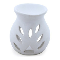 """SouvNear - Handcarved Ceramic Oil Diffuser / Tealight Holder for Aromatherapy, White - * Made to spread fragrance. Change any room to an """"experience"""", Handcrafted by master artisans of India"""