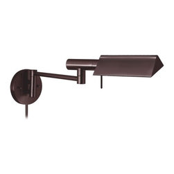 """Sonneman - Tenda Swing Arm Wall Sconce - The tent-styled head of the Tenda swing arm wall sconce adds flair to its overall simple styling. This wall sconce features a height adjustable stem and dual-jointed swing arm functionality with circular backplate, a built-in high-low switch. Features: -Swing arm wall sconce. -Tenda collection. -Cannot be hardwired, plug-in only. -Cord and plug application. -Installation: Dry locations. Specifications: -Accommodates (1) 75 watt E-11 mini-can halogen (included). -Certification: UL. -Voltage: 120V. Dimensions: -Extension: 20"""". -Wall plate: 4.5"""" W. -Shade: 2"""" H x 5.5"""" W x 6.5"""" D. -Overall Dimensions: 9.25"""" H x 6"""" W x 20"""" D."""