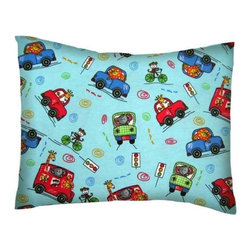 SheetWorld - SheetWorld Twin Pillow Case - Flannel Pillow Case - Animal Traffic Blue - Twin pillow shams. Made of an all cotton flannel fabric. Side opening. Features the cutest animal traffic blue.