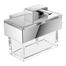 "WS Bath Collections - Vara Accessories Box - Vara 4219.001.00, 4.9"" x 3.0"" x 3.3"", Accesorries Box in Clear Crystal Glass with Polished Chrome Inserts"