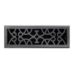 """Brass Elegans 120F DBZ Brass Decorative Floor Register Vent Cover - Victorian Sc - This dark bronze finish solid brass floor register heat vent cover with a victorian scroll design fits 4"""" x 14"""" x 2"""" duct openings and adds the perfect accent to your home decor."""