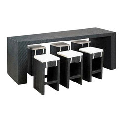 Outdoor Bar Set - Once you see this, you'll wonder how you've done without it all these years. Woven from black, weather-resistant resin rattan with a sleek modern design and contrasting white cushions, it's got more style than outdoor furniture has any right to. With six stools and a long bar table, you'll be hosting deck parties all summer long.