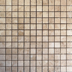 "SCABOS TILE - Cappuchino Marble Polished Mosaic Tile - Cappuchino Marble Mosaic on Mesh 1""x1"""