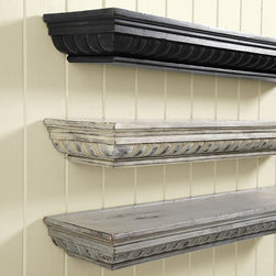 Ballard Designs - Lyonne Mantel Shelf - Deep plate groove for display. Sturdy French cleat hanger. We designed this beautifully detailed shelf to be extra deep and substantial, so you can create the warm, architectural look of a mantel anywhere. Hand crafted of wood and resin with carved fluted base crowned in triple-stepped molding.Lyonne Mantel Shelf features: . .