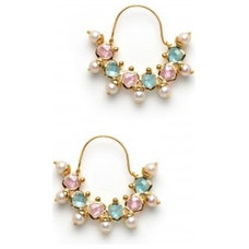 Candy bijou earrings with blue and pink crystals, available only at Pernia's Pop
