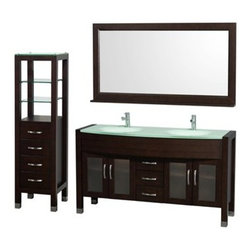 "Wyndham Collection(R) - Daytona 60"" Double Bathroom Vanity Set by Wyndham Collection - Espresso - The Daytona 60"" Double Bathroom Vanity Set is a modern classic with elegant, contemporary lines. This beautiful centerpiece, made in solid, eco-friendly zero emissions wood, comes complete with matching mirror and side cabinet. From fully extending drawer glides and soft-close doors to the 3/4"" green glass, ivory marble or man-made stone counter, quality comes first, like all Wyndham Collection products. Doors are made with fully framed glass inserts, and back paneling is standard. Available in gorgeous contemporary Cherry or rich, warm Espresso. Transform your bathroom into a talking point with this Wyndham Collection original design, only available in limited numbers.The Daytona 60 inch vanities offer choices for countertops that include Ivory Marble with undermount sink, and the amazing 3/4 inch thick one-piece counter and integral sink which gives the Daytona vanity the beautiful, clean look necessary in any modern vanity. The mirror, side cabinet and faucets are included in this magnificent vanity set, supplying you with everything you need for your bathroom remodel. All counters are pre-drilled for single-hole faucets. Available in additional sizes, finishes and counter options.The Wyndham Collection is an entirely unique and innovative bath line. Sure to inspire imitators, the original Wyndham Collection sets new standards for design and construction. Features Constructed of solid, environmentally friendly, zero emissions wood, engineered to prevent warping and last a lifetime Includes single-hole faucet mounts Includes drain assemblies and P-traps Three (3) fully functional drawers Four (4) soft-close doors Concealed soft-close door hinges Counter options include Green Glass, White Man-Made Stone, Ivory Marble Includes integrated sinks with green glass or white man-made stone and undermount sinks with ivory marble counter Brushed Chrome exterior hardware Includes mirror Includes four drawer, two shelf side cabinet Plenty of storage space How to handle your counter Spec Sheet for Vanity with Integrated Sinks Spec Sheet for Vanity with Undermount Sinks Installation Guide for VanitySpec Sheet for Tavello Side Cabinet (WC-K-W045) Spec Sheet for April Rotating Wall Cabinet (WC-V202) Spec Sheet for Diana Wall Cabinet (WC-V203) Spec Sheet for Bailey Wall Cabinet (WC-V205) Spec Sheet for Centra Wall Cabinet (WC-V207) Installation Guide for Centra Wall Cabinet (WC-V207) Natural stone like marble and granite, while otherwise durable, are vulnerable to staining from hair dye, ink, tea, coffee, oily materials such as hand cream or milk, and can be etched by acidic substances such as alcohol and soft drinks. Please protect your sink by avoiding contact with these substances. For more information, please review our ""Marble & Granite Care"" guide."
