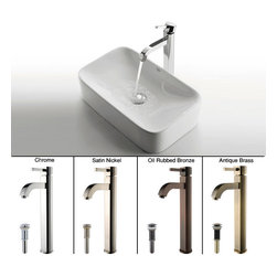 Kraus - Kraus White Rectangular Ceramic Sink and Ramus Faucet Chrome - *Add a touch of elegance to your bathroom with a ceramic sink combo from Kraus