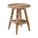 EcoFirstArt - Natural Woven Side Table - Add a tropical accent to your room with a natural, hand-crafted rattan side table. This ecofriendly artisan piece has a beachy style and will light up any room. The rattan will darken when placed in sunlight but will brighten your mood!