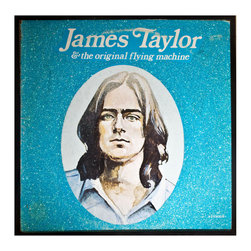 """Glittered James Taylor and the Original Flying Machine - Glittered record album. Album is framed in a black 12x12"""" square frame with front and back cover and clips holding the record in place on the back. Album covers are original vintage covers."""