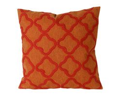 Trans-Ocean - Crochet Tile Orange Pillow - The highly detailed painterly effect is achieved by Liora Mannes patented Lamontage process which combines hand crafted art with cutting edge technology.These pillows are made with 100% polyester microfiber for an extra soft hand, and a 100% Polyester Insert.Liora Manne's pillows are suitable for Indoors or Outdoors, are antimicrobial, have a removable cover with a zipper closure for easy-care, and are handwashable.