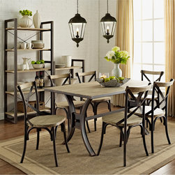 None - Urban Reclamation Solid Wood 7-piece Dining Set - This 7-piece dining set features distressed, solid wood accents set in an antiqued, metal frame creating a beautiful two-toned finish. Sit comfortably in a classic, x-back chair around a spacious, I-beam table with a beautiful rustic, industrial design.
