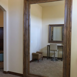 """Superstition Manor Wedding & Event Hall - A giant bridal suite dressing mirror. (Specs: 8.5"""" Silverton profile in Weathered Alder 48"""" x 96"""" int dim 63"""" x 111"""" ext dim)"""