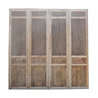 Golden Lotus - Oriental Round Flower See Through Geometric Pattern Door Panel Screen - This is a set of four tall door panel screen divider with nicely crafted round flower star shape geometric see through pattern.