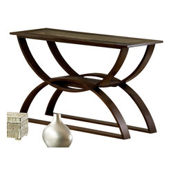 Steve Silver Furniture - Steve Silver Dylan Sofa Table - The Dylan Occasional Collection while simple has lots of style. Highlighted by the curves in the base the table tops feature glass inserts. Sure to add interest to any room.