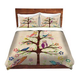DiaNoche Designs - Duvet Cover Twill - Owl Bird Tree 2 - Lightweight and super soft brushed twill Duvet Cover sizes Twin, Queen, King.  This duvet is designed to wash upon arrival for maximum softness.   Each duvet starts by looming the fabric and cutting to the size ordered.  The Image is printed and your Duvet Cover is meticulously sewn together with ties in each corner and a concealed zip closure.  All in the USA!!  Poly top with a Cotton Poly underside.  Dye Sublimation printing permanently adheres the ink to the material for long life and durability. Printed top, cream colored bottom, Machine Washable, Product may vary slightly from image.