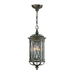 Fine Art Lamps - Warwickshire Outdoor Lantern, 610882ST - Decorative, individually beveled leaded glass panels like old cathedral windows lend a dramatic touch to this dark wrought iron pendant lantern. When the candle-shaped light distorts through the glass like a flickering flame, you'll feel transported back a few centuries.