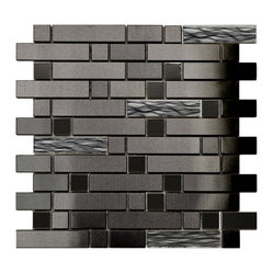 Eden Mosaic Tile - Black Stainless With Black Wave Glass Mosaic Tile, Sheet - This unique stainless steel and glass mosaic mixed tile features a modern black finish. The metal mixed brick pattern is complemented by randomly placed glass mosaic tile with embedded black and silver waves. Please note: Sample tiles are not returnable. Only one sample per style is allowed. Only five samples may be ordered. if you require more than one sample swatch to evaluate your project, please order a full sheet.
