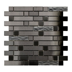 Eden Mosaic Tile - Black Stainless With Black Wave Glass Mosaic Tile, Sheet - This unique stainless steel and glass mosaic mixed tile features a modern black finish. The metal mixed brick pattern is complemented by randomly placed glass mosaic tile with embedded black and silver waves. Please note: Sample tiles are not returnable. Only one sample per style/model is allowed. Up to five different style/model samples may be selected per order. if you require more than one sample swatch to evaluate your project, please order a full sheet.