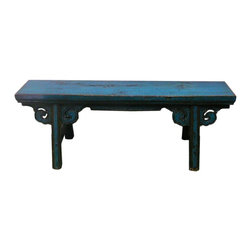 Golden Lotus - Chinese Oriental Blue Lacquer Long Wood Bench - This is an oriental long wood bench with rustic rough wood painted with modern distressed blue lacquer color.