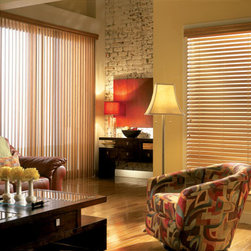"Faux Wood Venetian Blind (Vertical Blind on sliding glass door) - Custom 2"" Faux Wood Venetian Blind & Vertical Blind"
