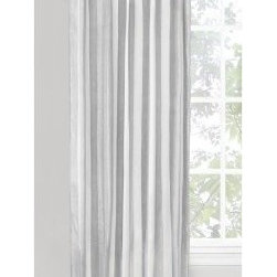 Vintage House Ottavia Back Tab Curtain Panel - Silver - This Vintage House by Park B. Smith Ottavia Back Tab Curtain Panel – Silver adds a peaceful flow to your living space. Its contemporary gray and white stripe and sleek back tab design make it the perfect accent to almost any home. A blend of cotton and lurex material ensures this curtain panel will hold up to years of use.
