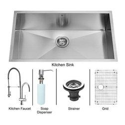 """Vigo - Vigo All in One 30 Undermount Kitchen Sink and Faucet Set (VG15244) - Vigo VG15244 All in One 30"""" Undermount Kitchen Sink and Faucet Set, Chrome and Stainless Steel"""