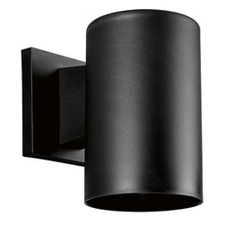 "Progress Lighting - Progress Lighting 5"" Dia. Polymeric Cylinders Transitional Outdoor Wall Sconce X - From the Cylinders Collection comes this clean and modern design that is simple but functional, ensuring this Progress Lighting outdoor wall sconce will dazzle and satisfy. The body is approximately five inches in size and constructed of sturdy polycarbonate. It comes finished in a deep Black hue that will compliment a variety of color palettes. UL listed for wet locations."