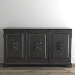 Horchow - Stratmoor Console - A beautiful charcoal-gray finish, sophisticated custom hardware, and bracket feet give style and finesse to this functional console. We find the ornate, interlocking design of the door medallions particularly intriguing. Made of hardwood solids, hardw...