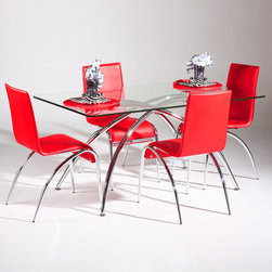 "Chintaly Imports - Elaine 5 Piece Dining Table Set - Features: Set Includes Table & Four Chairs; Elaine Collection; Arch Leg Contemporary Side Chair; Available in Red, White, and Black Leatherette (PVC); Upholstered Back Contemporary Chair; Chamfered Edge Glass Dining Top; Tempered Glass; Dimensions: Table: 36""W x 60""D x 30""H; Chair: 18""W x 21""D x 34""H"