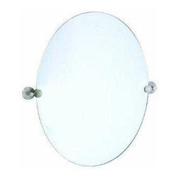Gatco - Gatco Latitude II Oval Mirror, Satin Nickel (4299) - Gatco 4299 Latitude II Oval Mirror, Satin Nickel