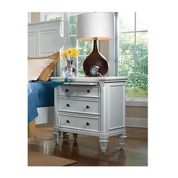 Magnussen Furniture - 3-Drawer Nightstand with Pull Out Tray - Ashb - Three pull drawers. Antiqued nickel hardware. Distinctive spade feet . Solid hardwood construction. Patina white finish. 18 in. W x 30 in. L x 32 in. H (334 lbs.)The Ashby Nightstand boasts an attractive urban cottage style that harkens back to a simpler time. Distinguished by its molded panel detailing and distinctively carved spade feet, the Ashby has a timeless charm. Antique nickel knob and bail hardware adds further character, while three pull drawers provide for ample bedside storage. A patina white finish is a fitting choice in completing the look of the Ashby Nightstand.