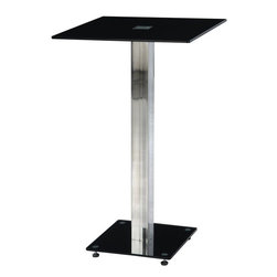 "Global Furniture - Bar Table in Black - Enhance the trendy contemporary look of your casual dining area with this chrome metal and glass bar table that features a square chrome metal leg, black base and square glass top.; Materials: Glass/Metal Legs; Color: Black/Chrome Leg; Weight: 24 lbs; Dimensions: 24""L x 24""W x 41""H"