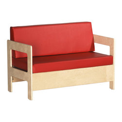 Ecr4kids - Ecr4Kids Children Kidsroom Playroom Birch Hardwood Sofa - Cozy, birch hardwood sofa with 2 thick foam padding. A comfortable and cozy sofa thats just my size  Durable birch sofa ideal for providing a quiet spot to read.  This sofa features cushions filled with thick 2 foam for comfort and support.  Easy assembly - instructions included.