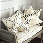 Ballard Designs - Firenze Embroidered Pillow Cover - Hidden zipper. Optional luxurious feather down insert sold separately. Our Firenze Embroidered Panel and has been so popular, we created this Firenze Embroidered Pillow Cover, so you can carry the look to bed top and seating. Hand finished in soft cotton/linen blend and embroidered in a geometric trellis for subtle color.Firenze Embroidered Pillow Cover features:. .