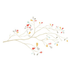 the lovely wall co - Whimsical Tree Branch, Burnt Orange Must Blue - Whimsical Tree Branch - Wall Decal